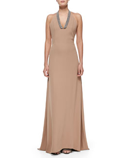Brunello Cucinelli Monili-Collar Long Halter Dress
