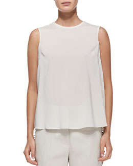 Brunello Cucinelli Sleeveless Tiered-Back Blouse