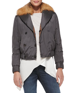 Brunello Cucinelli Reversible Fur-Collar Bomber Jacket