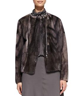 Brunello Cucinelli Mink Fur Marbled Jacket
