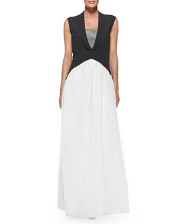 Brunello Cucinelli Sleeveless Tuxedo-Tails Silk Gown