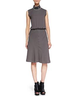 Brunello Cucinelli Mock-Neck Swing-Skirt Dress