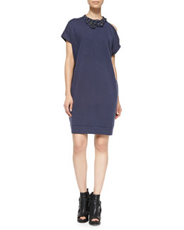 Brunello Cucinelli Embellished Cold-Shoulder Dress