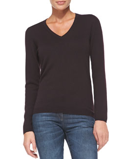 Brunello Cucinelli Cashmere Sweater with Suede Elbow Patches