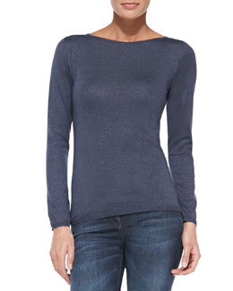 Brunello Cucinelli Shimmery Basic Sweater, Twilight