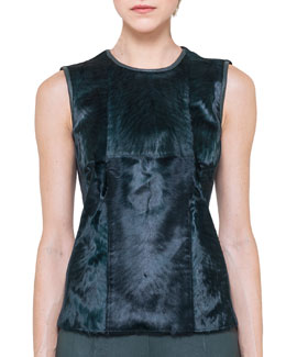 Akris Sleeveless Fur-Front Top
