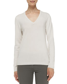 Brunello Cucinelli Cashmere Elbow-Patch Pullover Sweater, Vanilla