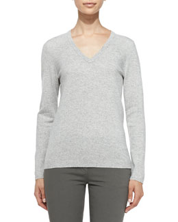 Brunello Cucinelli Cashmere Elbow-Patch Pullover Sweater, Light Gray