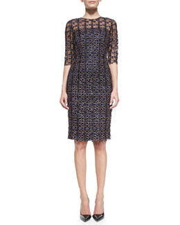 Mary Katrantzou Half-Sleeve Geometric Lace Dress, Blue