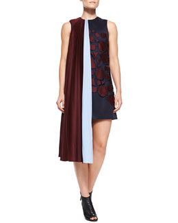 Mary Katrantzou 1/2-Scarf and Applique Overlay Twill Dress