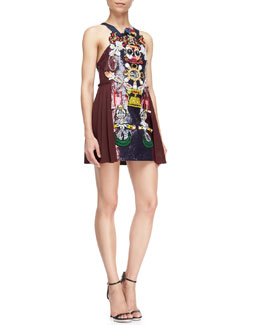 Mary Katrantzou Clocktopia Multi-Embellished Dress, Burgundy