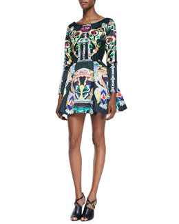 Mary Katrantzou Long-Sleeve Coppelia Butterfly Jewel Print Dress