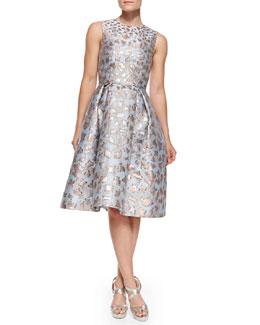Mary Katrantzou Astere Cookie Cutter Jacquard Jewel-Neck Dress