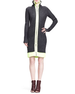 Alexander Wang Long-Sleeve Fitted Track Dress