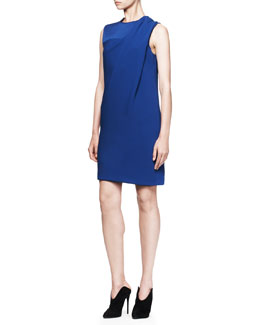 Alexander Wang Draped Crewneck Dress, Neptune Blue