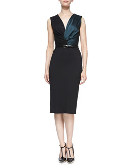Jason Wu Sleeveless Twisted Sheath Dress with Belt, Black/Evergreen