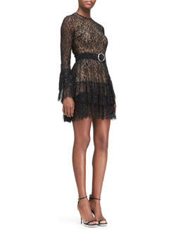 Michael Kors  Beaded Lace Tiered-Skirt Dress