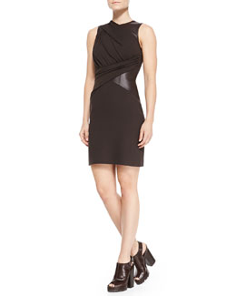 Michael Kors  Leather-Waist Crepe Dress