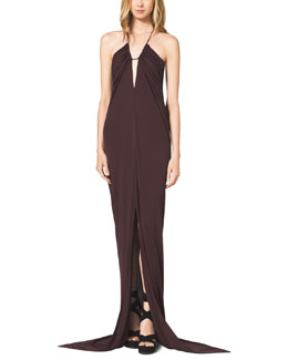 Michael Kors  Tissue-Jersey Halter Dress