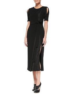 Altuzarra Slit-Shoulder Belted Jersey/Satin Sheath Dress