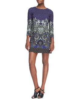 Etro Floral-Print Jersey Tunic Dress, Blue/Multi