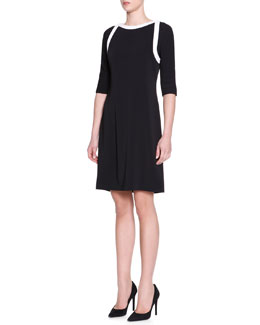 Piazza Sempione Half-Sleeve Contrast-Trim Dress, Black/White