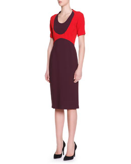 Piazza Sempione Short-Sleeve Colorblock-Top Dress