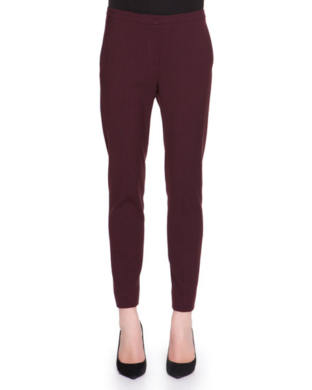 Stretch-Wool Ankle Pants, Burgundy