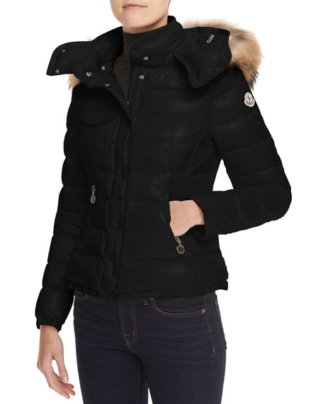 black faux fur-trim pocket funnel collar jacket