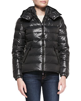 Moncler Hooded Puffer Jacket, Charcoal