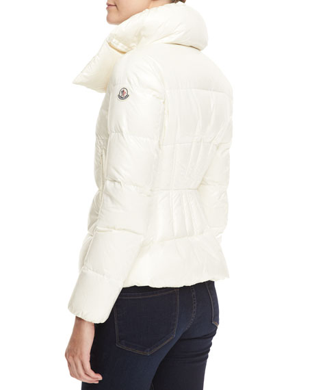 Short High-Neck Puffer Coat, Cream