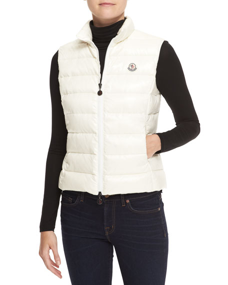 Fitted Zip Puffer Vest, Ivory