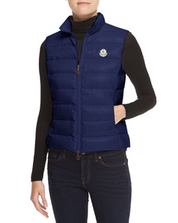 Moncler Quilted Zip Puffer Vest, Royal
