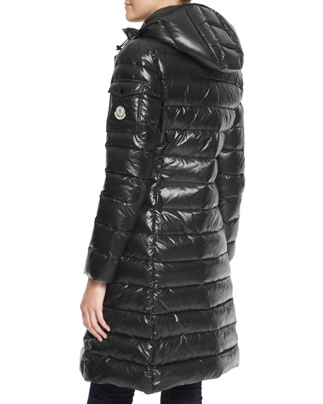 Hooded Long Puffer Coat, Black