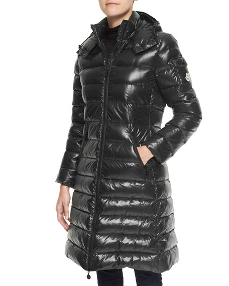 Hooded Long Puffer Coat, Black