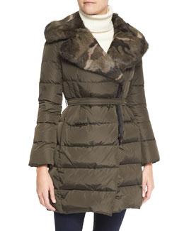 Moncler Camo Fur-Lapel Puffer Jacket