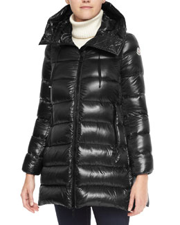 Moncler Hooded Zip Puffer Coat, Black