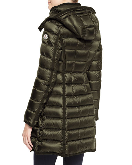 Hooded Long Puffer Coat, Olive