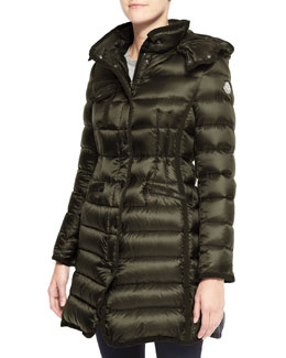 Moncler Hooded Long Puffer Coat, Olive