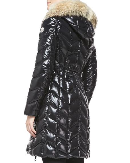 4b288390414458 Moncler Fur-Trim Shiny Puffer Jacket