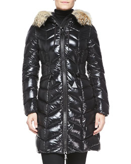 Fur-Trim Shiny Puffer Jacket