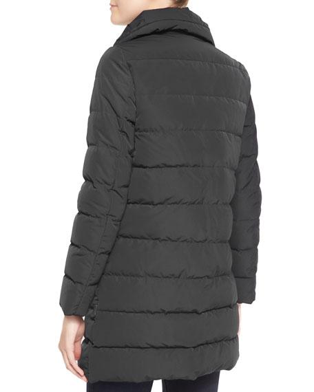 High-Collar Puffer Coat, Charcoal