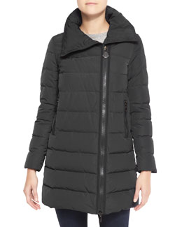 Moncler High-Collar Puffer Coat, Charcoal