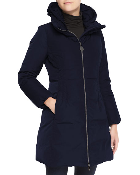Hooded Long Oversize Down Jacket, Navy