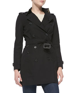Burberry London Double-Breasted Trench Coat, Jet Black