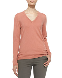 Brunello Cucinelli Cashmere Elbow-Patch Pullover Sweater, Apricot