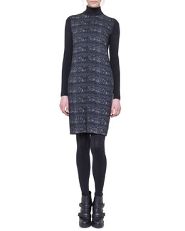 Akris punto Ski Lift Printed Mock-Neck Dress