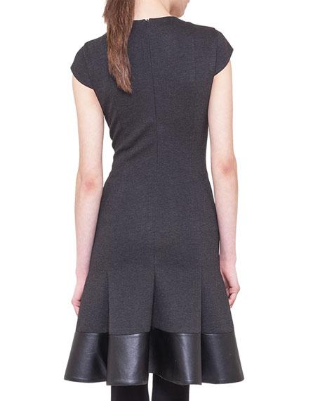 Cap-Sleeve Jersey Flounce Dress