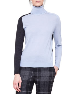Akris punto Colorblock Merino Turtleneck Sweater