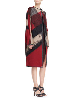 J. Mendel Embroidered Abstract-Plaid Wool-Blend Coat, Red